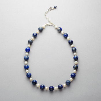 Necklace - Lapis lazuli and fresh water pearls