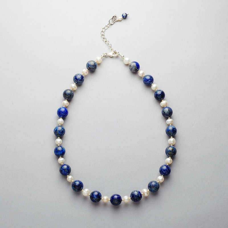 Necklace - Lapis and Pearl