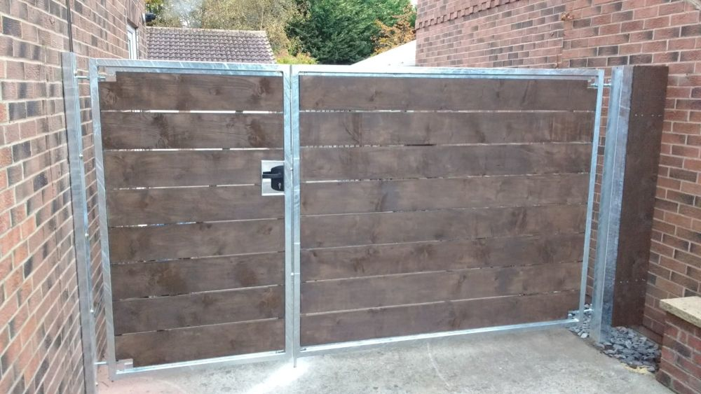 York Gates wood infill galvanised frame