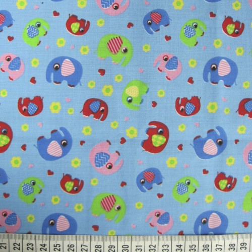 Elephants - Blue - Polycotton