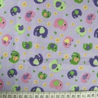 Elephants - Lilac - Polycotton