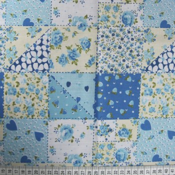 Patchwork - Blue - Polycotton