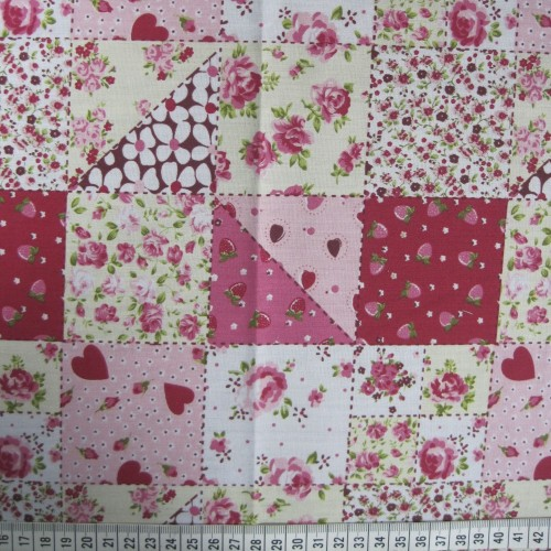 Patchwork - Pink - Polycotton