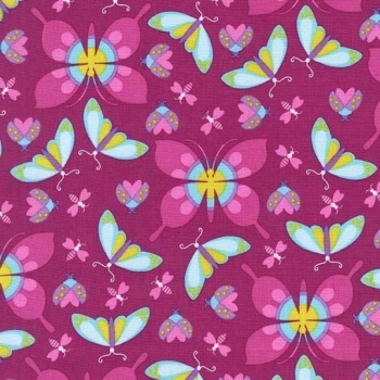 Michael Miller Fabric - Birds and the Bees All The Wee Beasts (Magenta)
