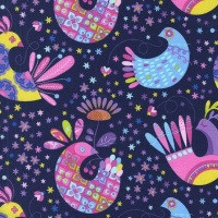 Michael Miller Fabric - Birds and the Bees Feathered Flock (Navy)