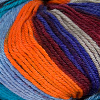 Adriafil Stella Jacq Yarn (Aran) - 86 Kipling Blue Brown Orange - 100% Merino Wool