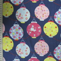 Christmas Lanterns - Navy - 100% Cotton (extra wide)
