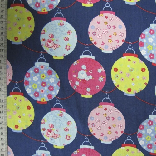 Christmas Lanterns - Navy - 100% Cotton