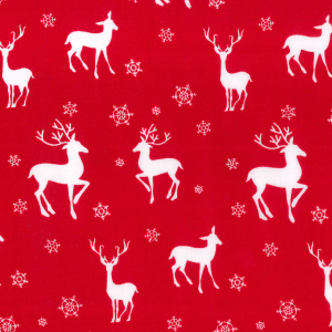 Reindeer & Snowflakes - Red - Polycotton