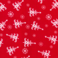 Christmas Trees & Snowflakes - Red - Polycotton