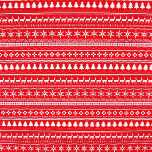 Christmas Medley - Red - Polycotton