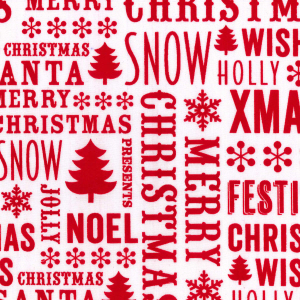 Christmas Messages - White - Polycotton