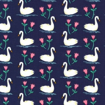 Michael Miller Fabric - Swan Lake Swans A Swimming Midnight