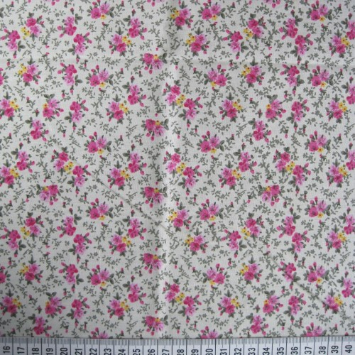 Floral Sprig - Pink - Polycotton