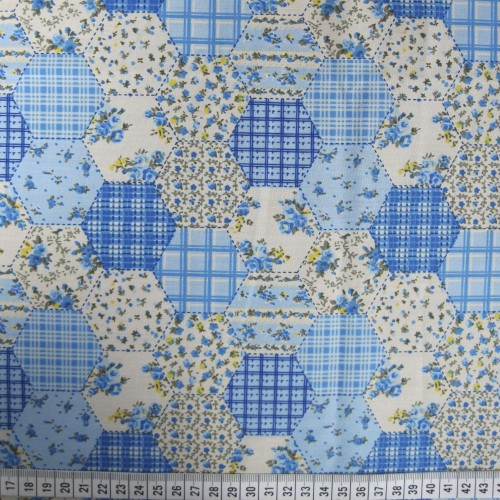 Patchwork Hexagon - Blue - Polycotton