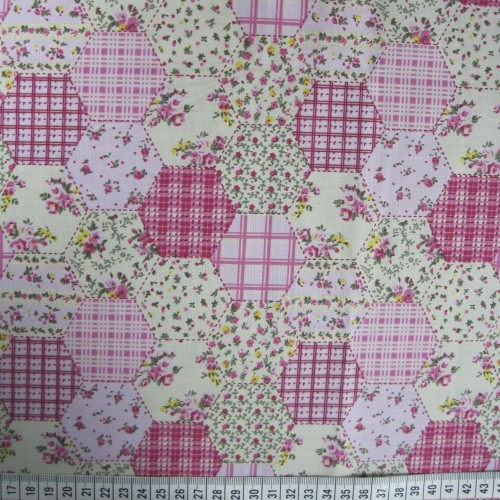 Patchwork Hexagon - Pink - Polycotton