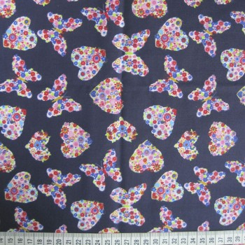 Multicolour Butterflies and Hearts - Navy - Polycotton