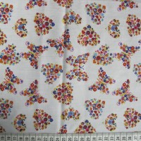 Multicolour Butterflies and Hearts - White - Polycotton