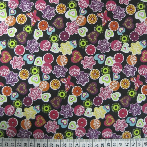 Butterflies, Flowers and Hearts - Multicolour - Polycotton