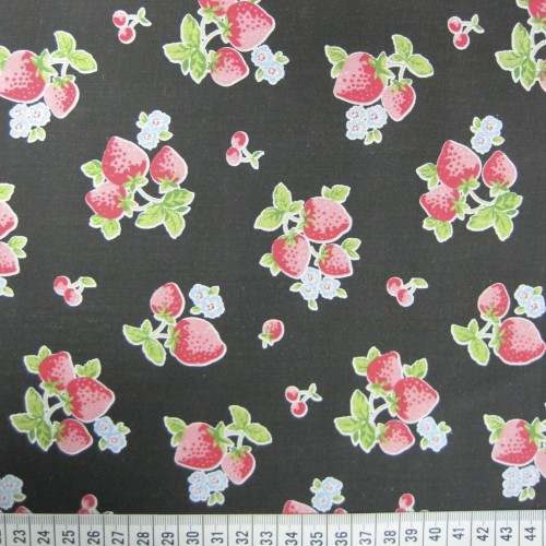 Strawberries - Black - Polycotton