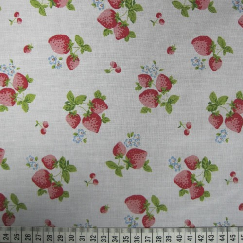 Strawberries - White - Polycotton