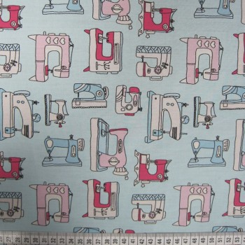 Sewing Machines - Aqua - Poplin Cotton (extra wide)