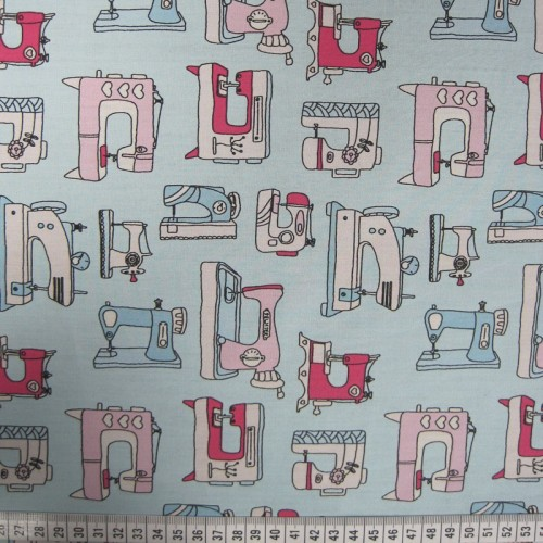 Sewing Machines - Aqua - Poplin Cotton