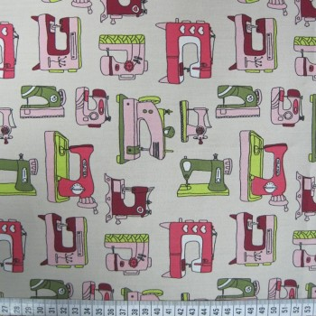 Sewing Machines - Cream - Poplin Cotton (extra wide)