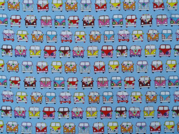 Camper Vans - Blue - 100% Cotton