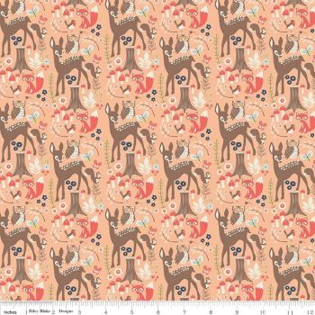 Riley Blake Designs Fabric - Woodland Spring Collection Main Coral