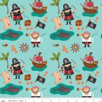 Riley Blake Designs Fabric - Blackbeard's Pirates Collection Blackbeard Main Blue -