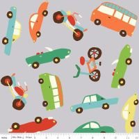 Riley Blake Designs Fabric - Wheels 2 Collection Main Gray