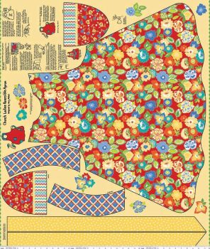 Riley Blake Designs Fabric - Church Ladies Aprons Collection Panel Red