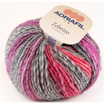 Adriafil Zebrino Yarn Aran - 63 Multi-Fuchsia Fancy Purple Pink Red - 53% Wool 47% Acrylic