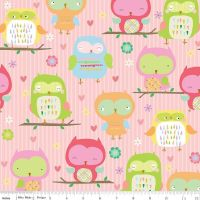 Riley Blake Designs Fabric - Owls & Co Collection Owls Pink