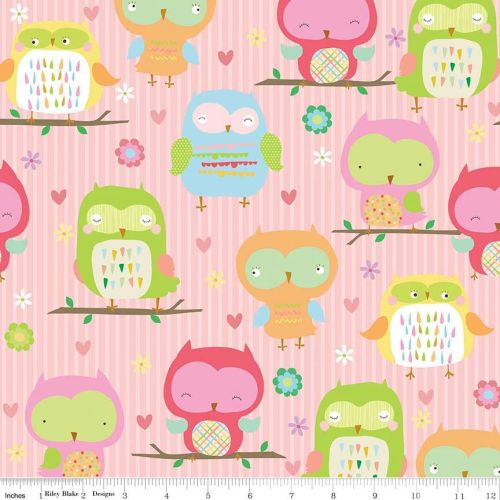 Owls Main Pink In Flannel - Ows & Co Collection - Riley Blake