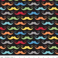 Riley Blake Designs Fabric - Geekly Chic Collection Mustache Black