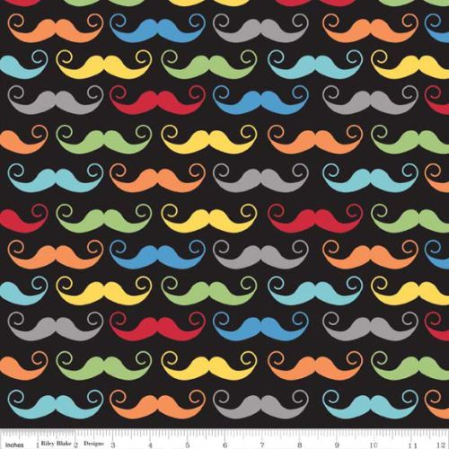 Geekly Mustache Black - Geekly Chic Collection - Riley Blake Designs