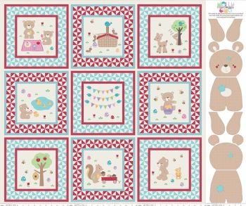 Riley Blake Designs Fabric -Teddy Bear's Picnic Aqua Picture Project Quilt Panel 100% Cotton
