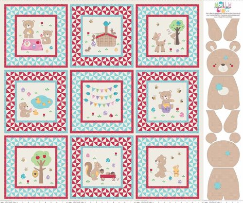 Teddy Bear's Picnic Aqua Picture Project Quilt Panel