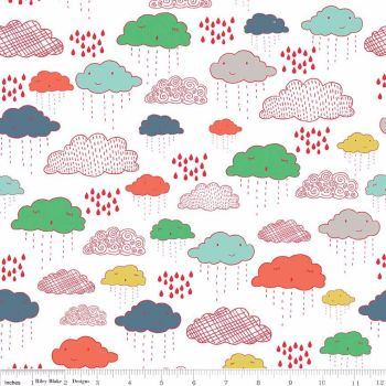 Riley Blake Designs Fabric - Greatest Adventure Collection Clouds Multi Colour