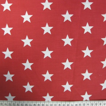 Polycotton - White Stars on Red Background