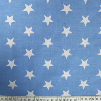 Polycotton - White Stars on Blue Background