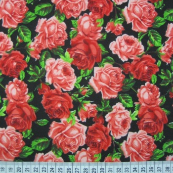 Polycotton - Red Roses on Black Background
