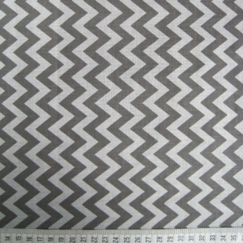 Polycotton - Grey Zig-Zag Pattern on White Background