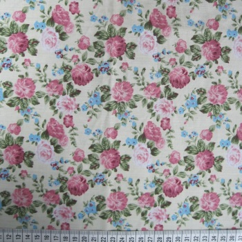 Polycotton - Floral Design on Cream Background