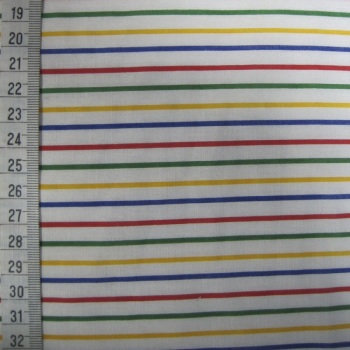 Polycotton - Multicoloured Stripes on White Background