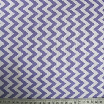 Polycotton - Purple Zig-Zag Pattern on White Background
