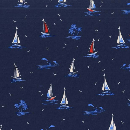 Sail On Navy - Yacht Club Collection - Michael Miller