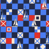 Michael Miller Fabric - Yacht Club Mariner Flags Sailor